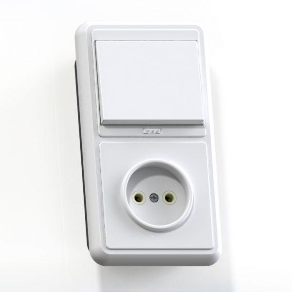 Блок комб. СП (1кл выкл.10А с подсв.+1м роз.16А б/з б/з.шт.) бел. БКВР-214 Бэлла 5817