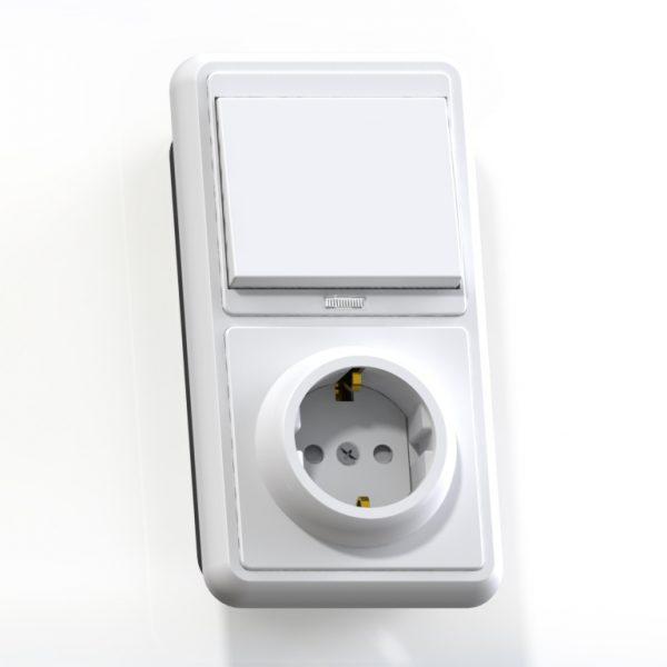 Блок комб. СП (1кл выкл.10А с подсв.+1м роз.16А с/з с/з.шт.) бел. БКВР-211 Бэлла 5825