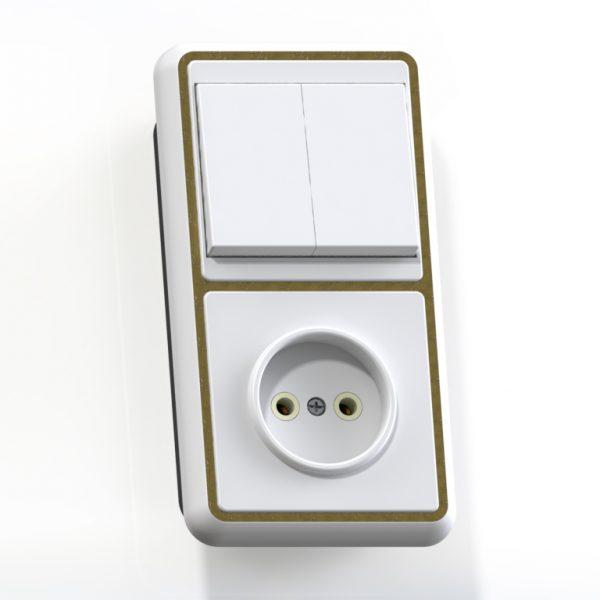 Блок комб. СП (2кл выкл.10А+1м роз.16А б/з б/з.шт.) бел/зол. БКВР-038 Бэлла 5828
