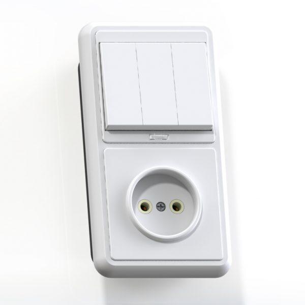 Блок комб. СП (3кл выкл.10А с подсв.+1м роз.16А б/з б/з.шт.) бел. БКВР-212 Бэлла 5841