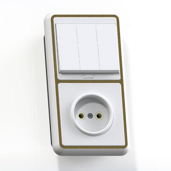 Блок комб. СП (3кл выкл.10А с подсв.+1м роз.16А б/з б/з.шт.) бел/зол. БКВР-212 Бэлла 5842
