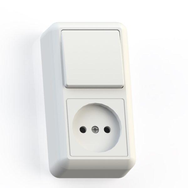 Блок комб. ОП (1кл выкл.10А+1м роз.16А б/з б/з.шт.) бел. БКВР-427 Оптима 8060