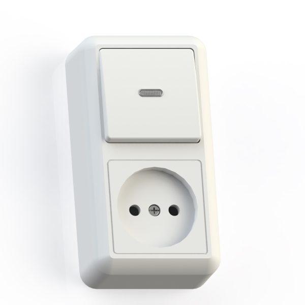 Блок комб. ОП (1кл выкл.10А с подсв.+1м роз.16А б/з б/з.шт.) бел. БКВР-430 Оптима 8061