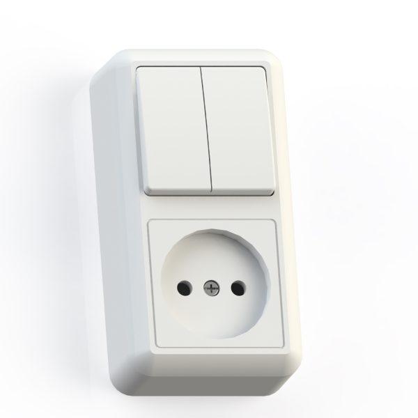 Блок комб. ОП (2кл выкл.10А+1м роз.16А б/з б/з.шт.) бел. БКВР-404 Оптима 8062