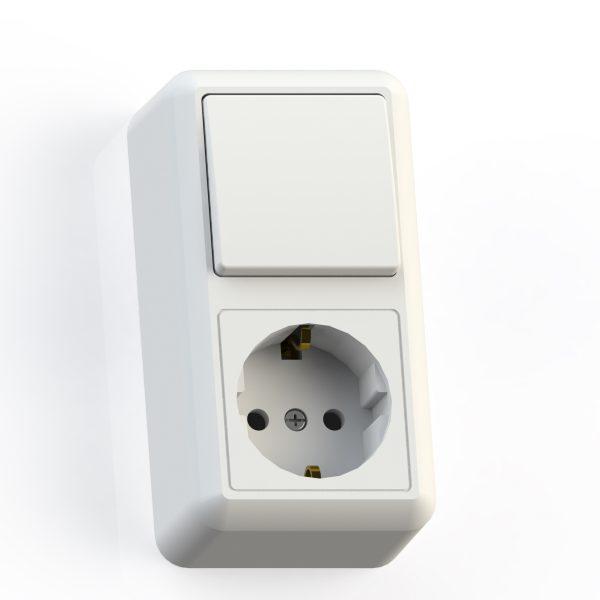 Блок комб. ОП (1кл выкл.10А+1м роз.16А с/з б/з.шт.) бел. БКВР-405 Оптима 8064