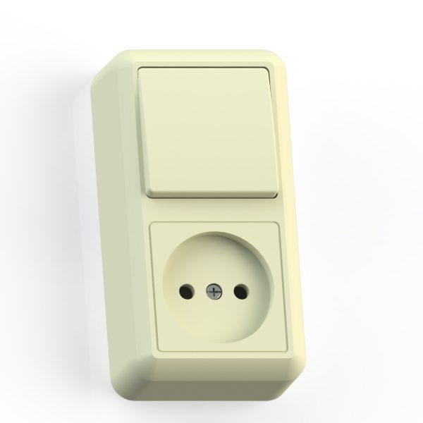 Блок комб. ОП (1кл выкл.10А+1м роз.16А б/з б/з.шт.) сл.кость БКВР-427 Оптима 8082