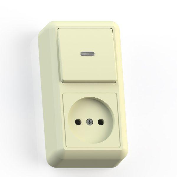 Блок комб. ОП (1кл выкл.10А с подсв.+1м роз.16А б/з б/з.шт.) сл.кость БКВР-430 Оптима 8083