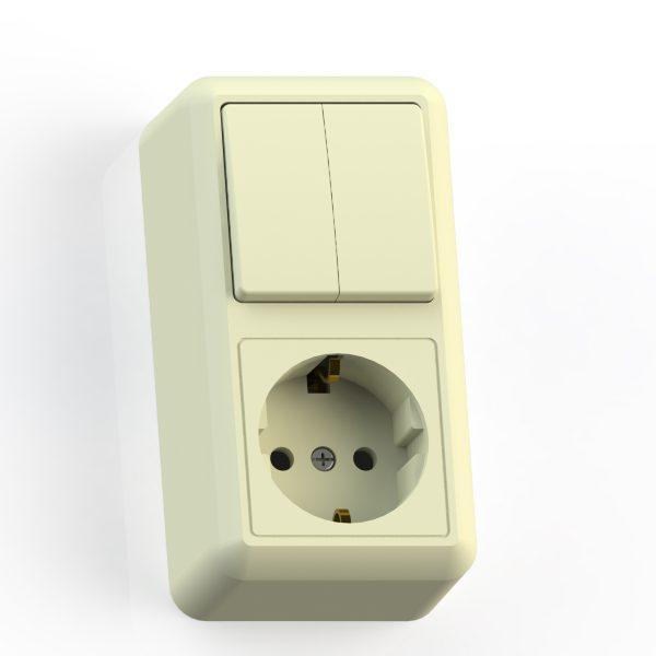 Блок комб. ОП (2кл выкл.10А+1м роз.16А с/з б/з.шт.) сл.кость БКВР-428 Оптима 8088