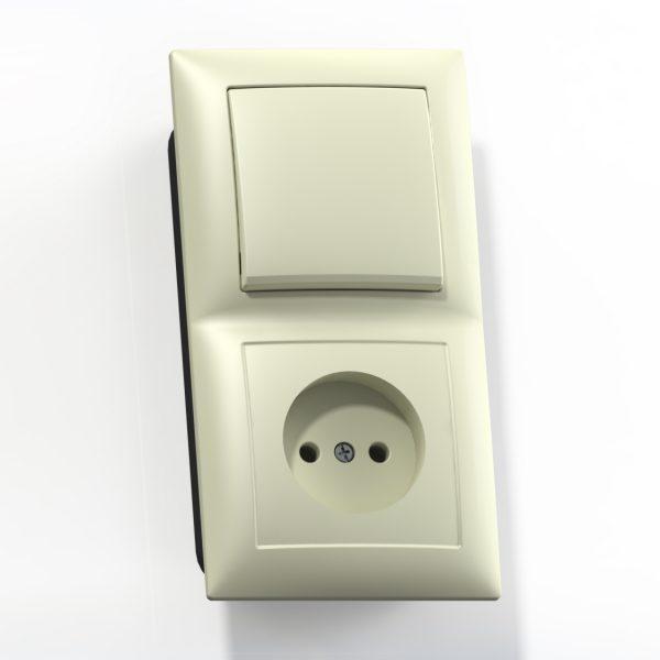 Блок комб. СП (1кл выкл.10А+1м роз.16А б/з б/з.шт.) сл.кость БКВР-408 Селена 8170