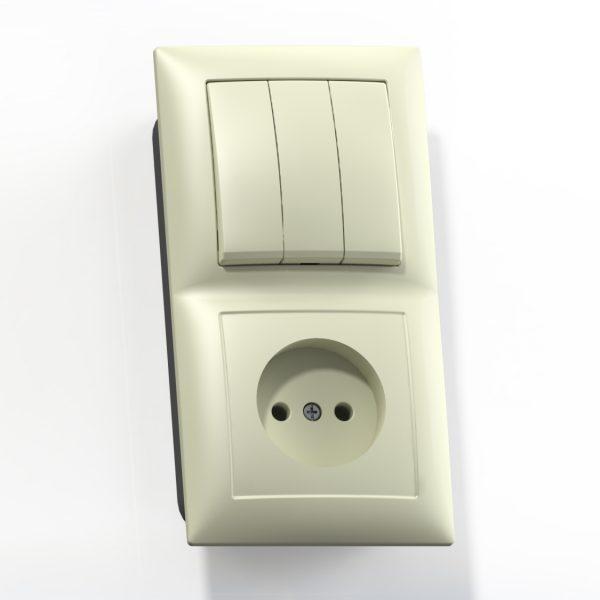 Блок комб. СП (3кл выкл.10А+1м роз.16А б/з б/з.шт.) сл.кость БКВР-410 Селена 8172
