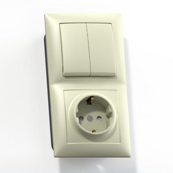 Блок комб. СП (2кл выкл.10А+1м роз.16А с/з с/з.шт.) сл.кость БКВР-415 Селена 8174