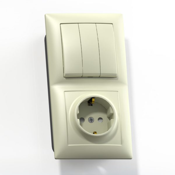 Блок комб. СП (3кл выкл.10А+1м роз.16А с/з с/з.шт.) сл.кость БКВР-416 Селена 8175