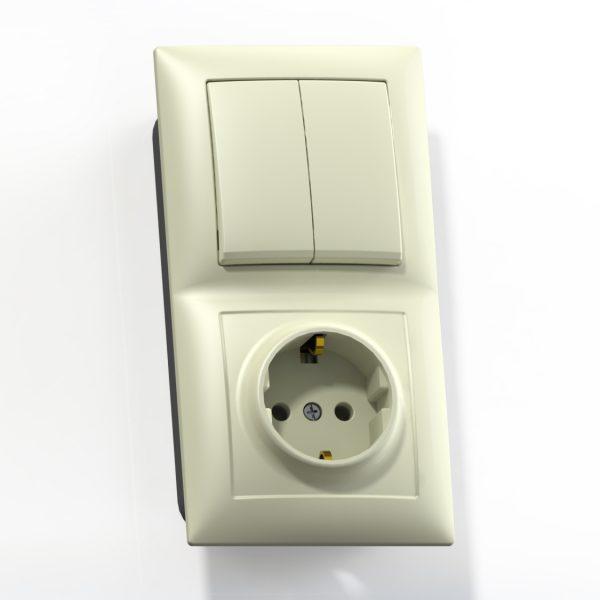 Блок комб. СП (2кл выкл.10А+1м роз.16А с/з б/з.шт.) сл.кость БКВР-412 Селена 8177