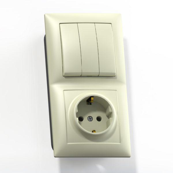 Блок комб. СП (3кл выкл.10А+1м роз.16А с/з б/з.шт.) сл.кость БКВР-413 Селена 8178