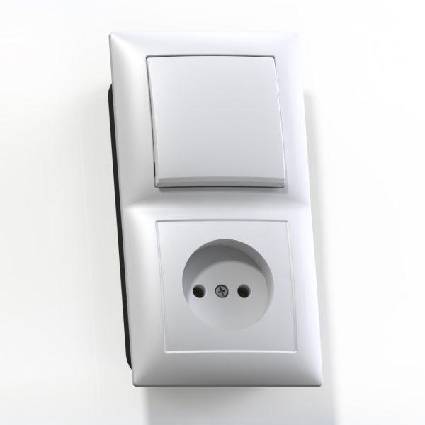 Блок комб. СП (1кл выкл.10А+1м роз.16А б/з б/з.шт.) бел. БКВР-408 Селена 8200
