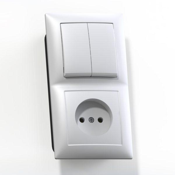 Блок комб. СП (2кл выкл.10А+1м роз.16А б/з б/з.шт.) бел. БКВР-409 Селена 8201