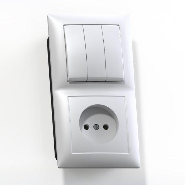 Блок комб. СП (3кл выкл.10А+1м роз.16А б/з б/з.шт.) бел. БКВР-410 Селена 8203