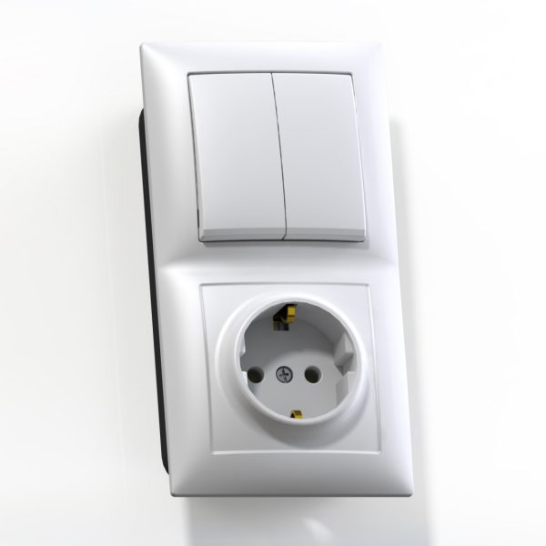 Блок комб. СП (2кл выкл.10А+1м роз.16А с/з б/з.шт.) бел. БКВР-412 Селена 8208