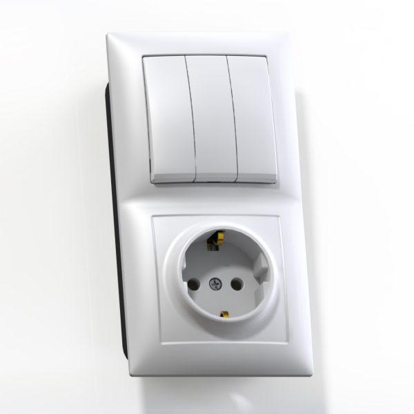 Блок комб. СП (3кл выкл.10А+1м роз.16А с/з б/з.шт.) бел. БКВР-413 Селена 8209