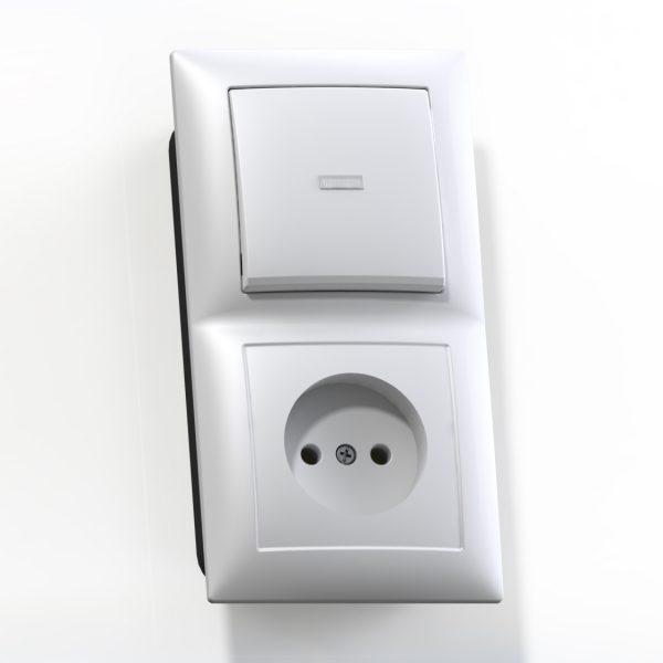Блок комб. СП (1кл выкл.10А с подсв.+1м роз.16А б/з б/з.шт.) бел. БКВР-417 Селена 8210