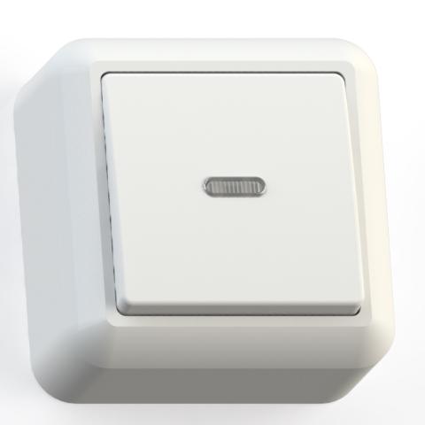 Выключатель 1-кл ОП 10А IP20 с подсв. бел. А110-386 Оптима 8001