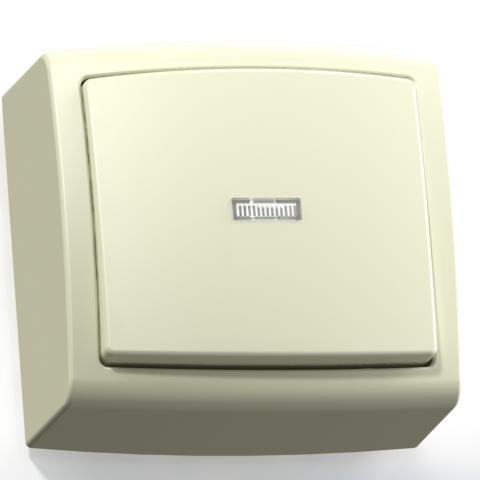 Выключатель 1-кл ОП 6А IP20 с подсв. сл.кость А16-182 Елизавета 6451