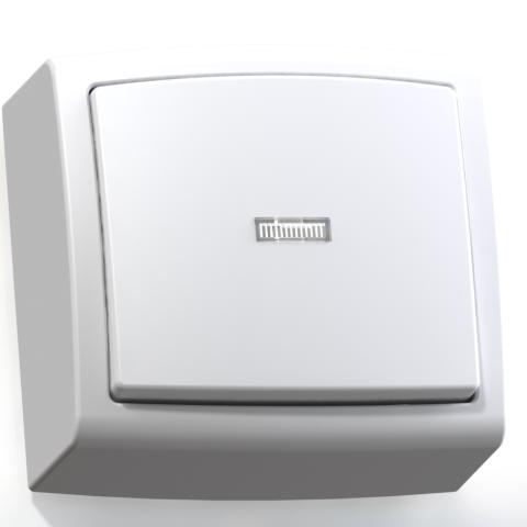 Выключатель 1-кл ОП 6А IP20 с подсв. бел. А16-182 Елизавета 6401