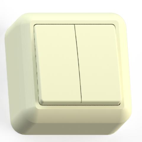 Выключатель 2-кл ОП 10А IP20 сл.кость А510-380 Оптима 8033