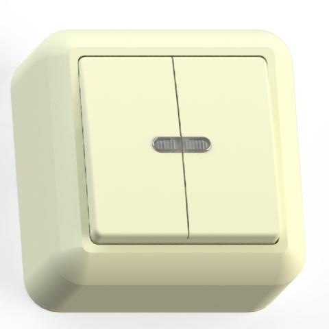 Выключатель 2-кл ОП 10А IP20 с подсв. сл.кость А510-387 Оптима 8034