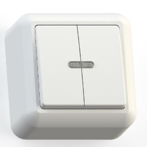 Выключатель 2-кл ОП 10А IP20 с подсв. бел. А510-387 Оптима 8004