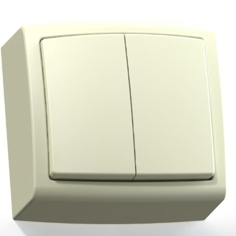 Выключатель 2-кл ОП 6А IP20 сл.кость А56-032 Елизавета 6452
