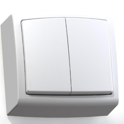 Выключатель 2-кл ОП 6А IP20 бел. А56-032 Елизавета 6402