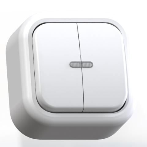 Выключатель 2-кл ОП 6А IP20 с подсв. бел. А56-176 Валентина 7636
