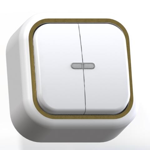 Выключатель 2-кл ОП 6А IP20 с подсв. бел/зол. А56-176 Валентина 7637