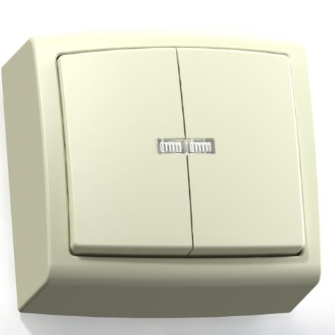 Выключатель 2-кл ОП 6А IP20 с подсв. сл.кость А56-183 Елизавета 6453