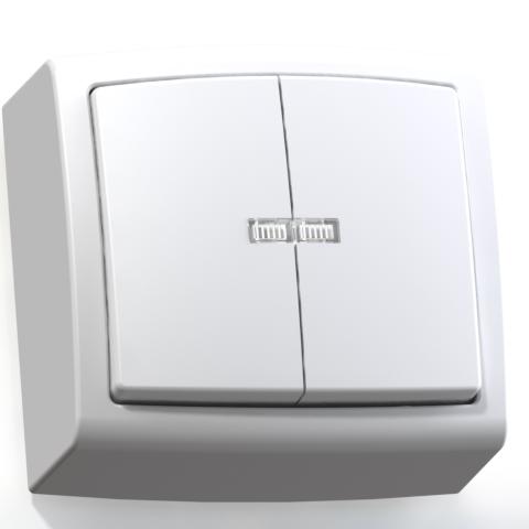 Выключатель 2-кл ОП 6А IP20 с подсв. бел. А56-183 Елизавета 6403