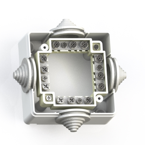 Коробка ответвительная ОП 78х78х42 IP44 КОА-001 с конт.групп 5953