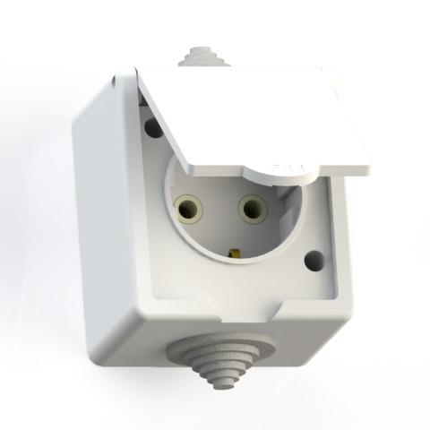Розетка 1-м ОП 16А IP44 с/з брызгозащ. РА16-660 бел. 5906