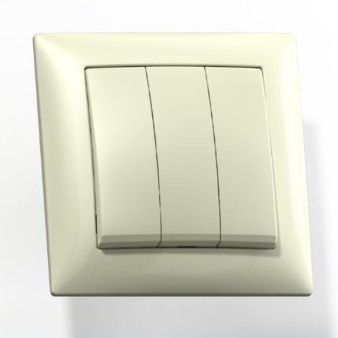 Выключатель 3-кл СП 10А IP20 сл.кость С0510-406 Селена 8153