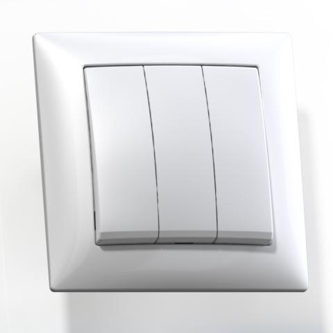 Выключатель 3-кл СП 10А IP20 бел. С0510-406 Селена 8105