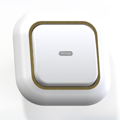 Выключатель 1-кл СП 6А IP20 с подсв. бел/зол. С16-068 Валентина 7646