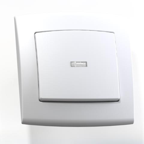 Выключатель 1-кл СП 6А IP20 с подсв. бел. С16-180 Елизавета 6414