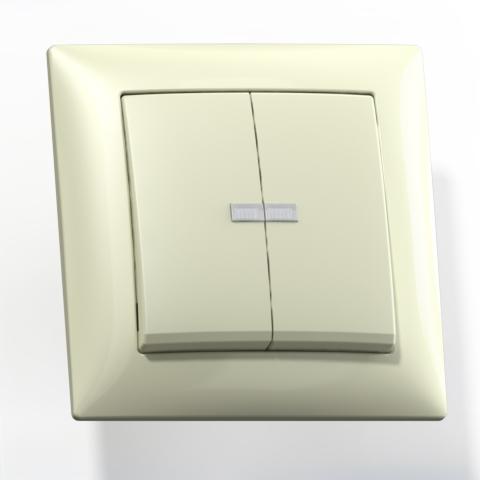 Выключатель 2-кл СП 10А IP20 с подсв. сл.кость С510-397 Селена 8144