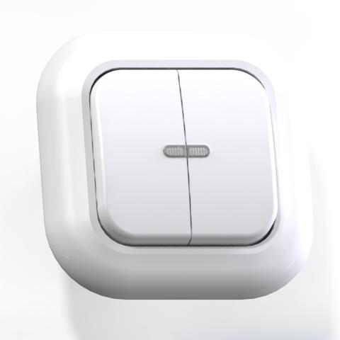 Выключатель 2-кл СП 6А IP20 с подсв. бел. С56-175 Валентина 7649