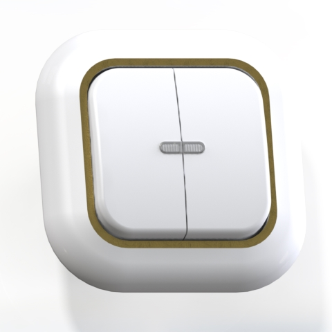 Выключатель 2-кл СП 6А IP20 с подсв. бел/зол. С56-175 Валентина 7650