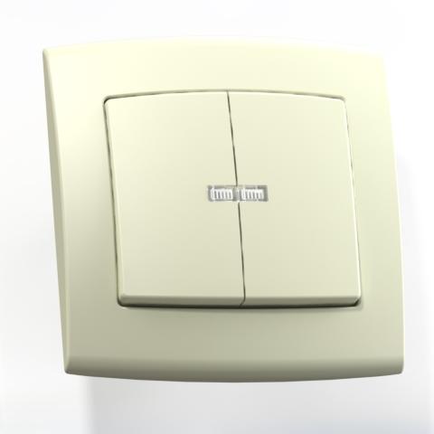 Выключатель 2-кл СП 6А IP20 с подсв. сл.кость С56-181 Елизавета 6467
