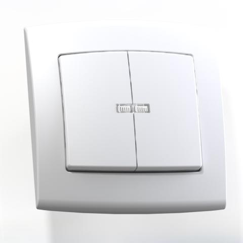 Выключатель 2-кл СП 6А IP20 с подсв. бел. С56-181 Елизавета 6416